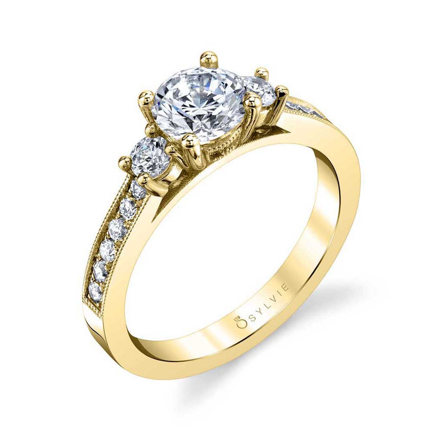 Three Stone Engagement Ring With Milgrain Detail S1598 - Chalmers Jewelers
