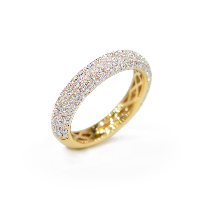 18kt Yellow Gold and Pave Diamond Ladies Band