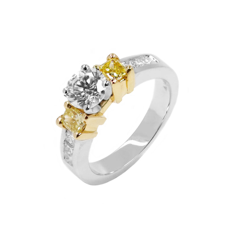 Yellow Diamond Accent Engagement Ring - Chalmers Jewelers