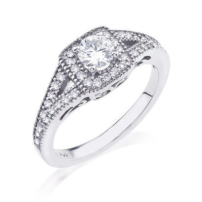 Jasmine Split Shank Halo Diamond Engagement Ring