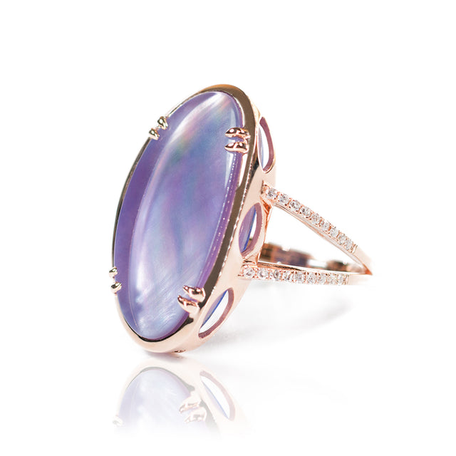 Sophia Diamond & Layered Amethyst with Lapis Ring