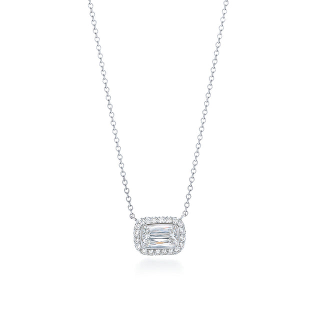 Ashoka diamond pendant in 18k white gold