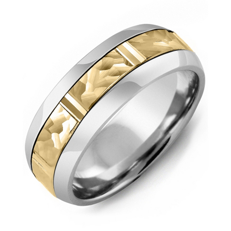 Hammered Cut Wedding Band
