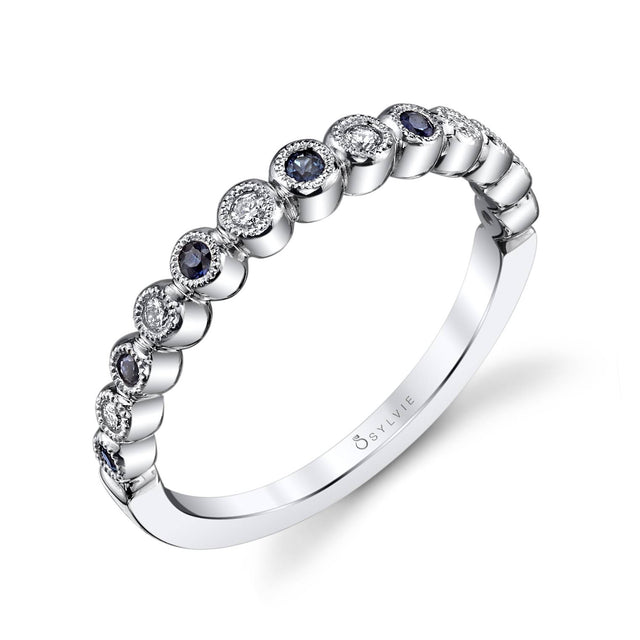 Round White Gold & Blue Sapphire Stackable Wedding Band B0012-BS - Chalmers Jewelers