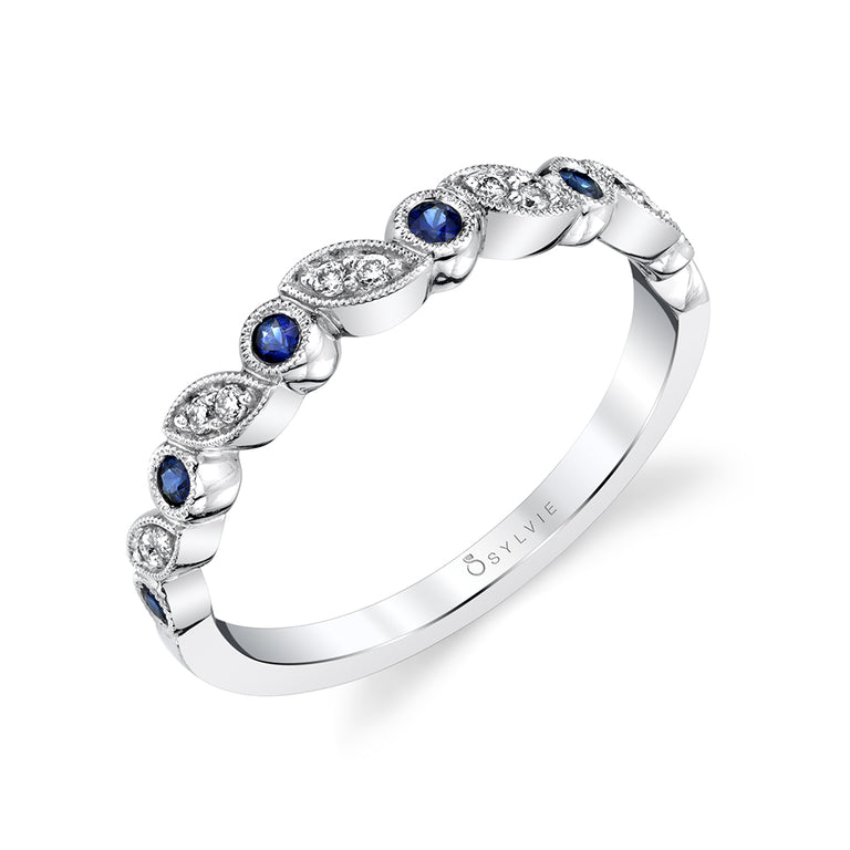 Blue Sapphire Gemstone Wedding Band B0018-BS - Chalmers Jewelers