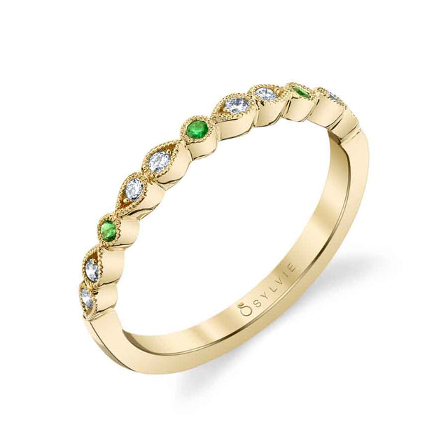 Diamond And Green Emerald Wedding Band B0033-EM - Chalmers Jewelers