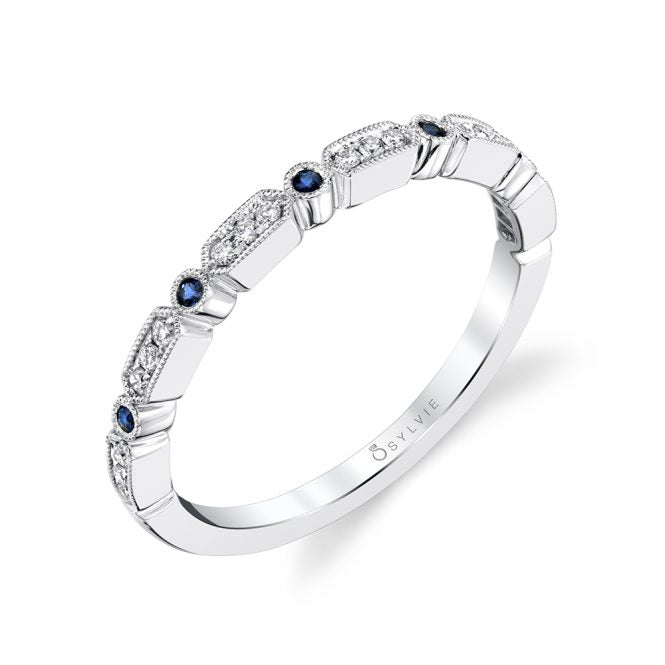 Modern Blue Sapphire & Diamond Stackable Band B0036 - BS - Chalmers Jewelers