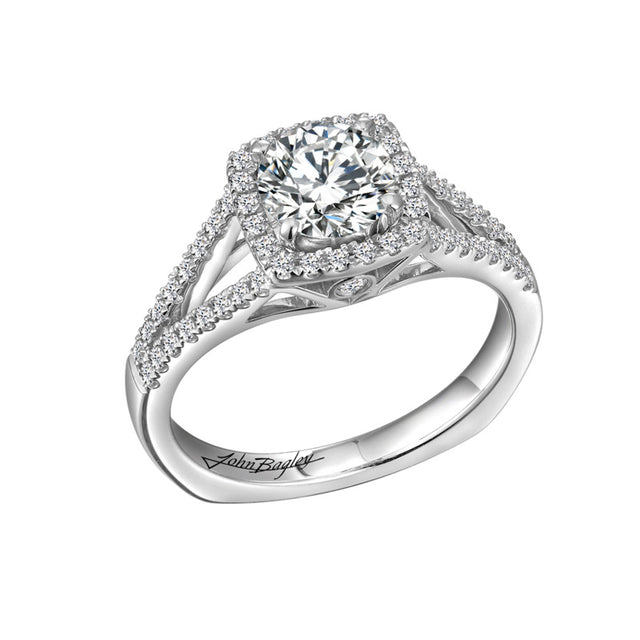 Squared Halo Engagement Ring With Split Shank #211176 - Chalmers Jewelers