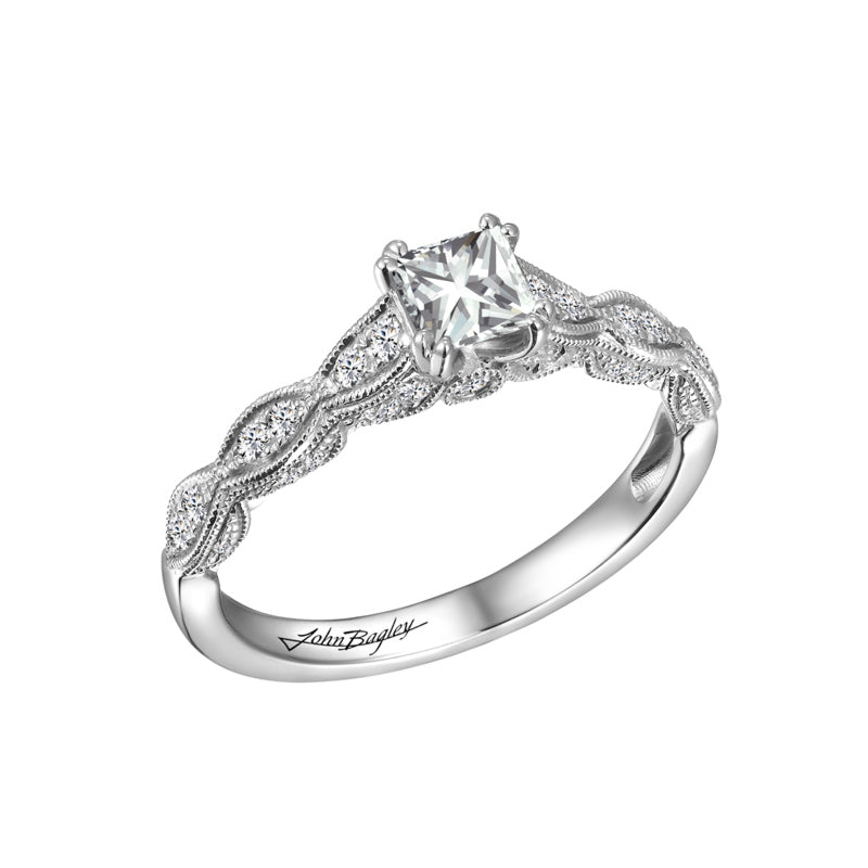 Vintage Inspired Princess Cut Diamond Engagement Ring #259274 - Chalmers Jewelers