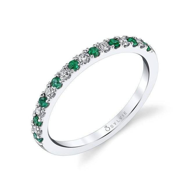 Classic Emerald & Diamond Wedding Band B4002-EM - Chalmers Jewelers