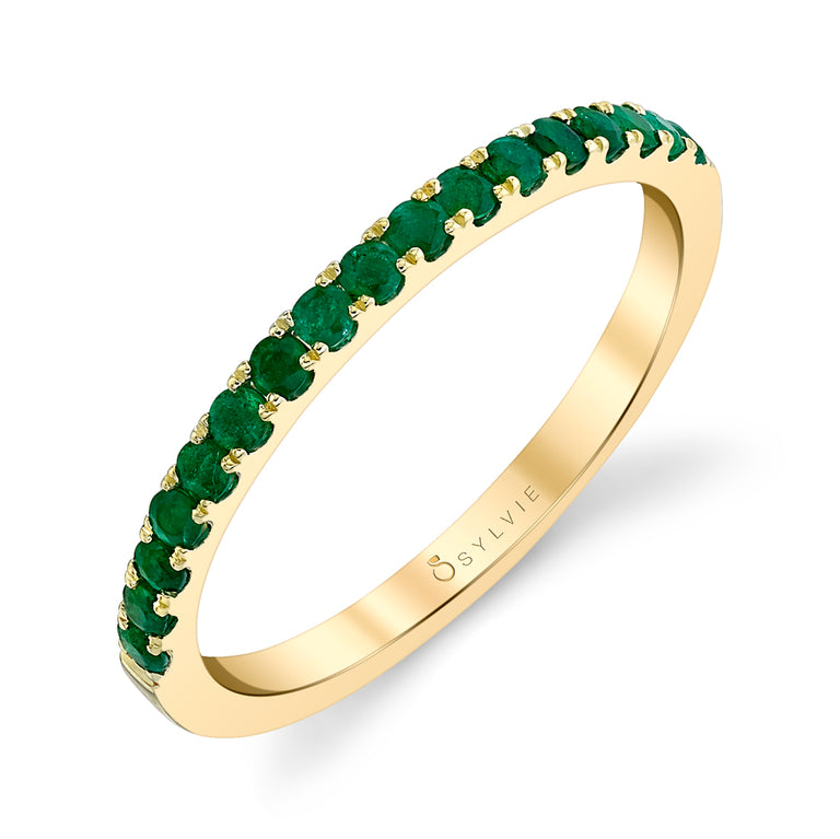 Classic Yellow Gold Emerald Wedding Band B4002 ALL EM-YG - Chalmers Jewelers