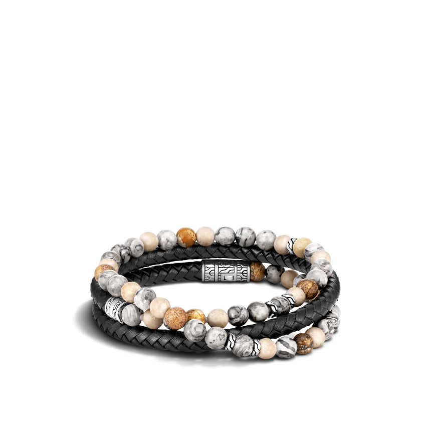 Chain Wrap Bracelet with Black Jasper