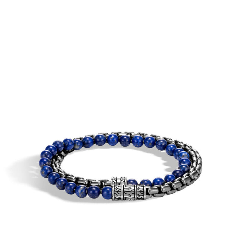 Box Chain Wrap Bracelet with Lapis Lazuli - Chalmers Jewelers
