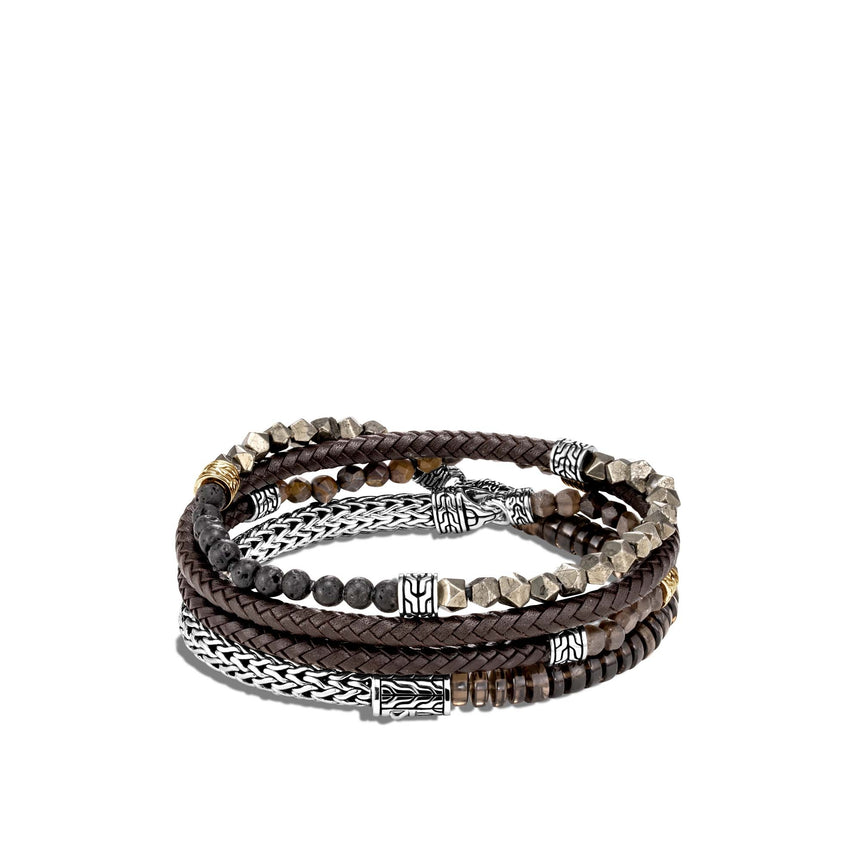 Leather Wrap Bracelet, Smoky Quartz, Tiger Iron