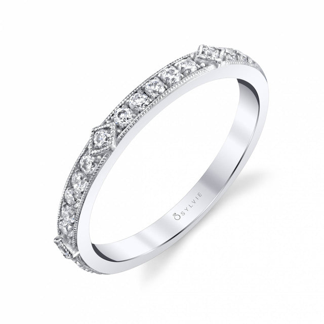 Modern Wedding Band With Milgrain Edge BS1802 - Chalmers Jewelers