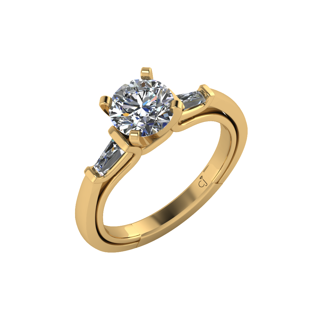 Signature Baguette Solitaire in Yellow Gold