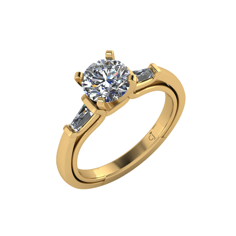 Signature Baguette Solitaire in Yellow Gold - Chalmers Jewelers