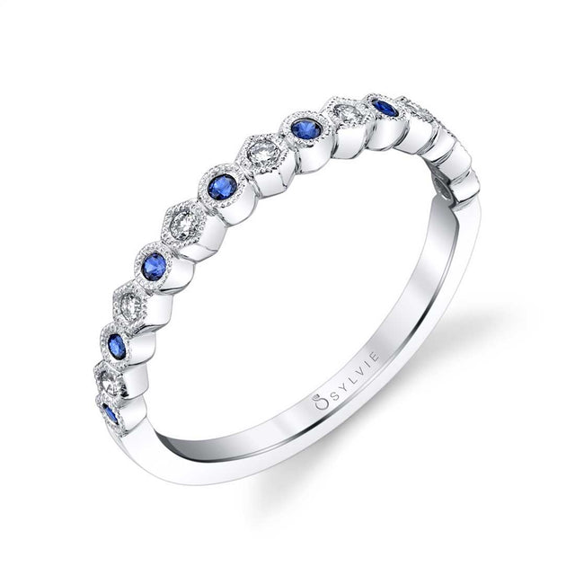 Blue Sapphire Gemstone Wedding Band B0019-BS - Chalmers Jewelers