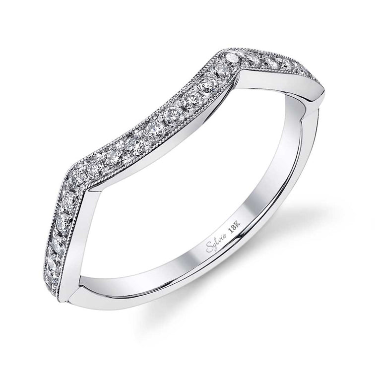 Curved Wedding Band With Milgrain Accents BSY429 - Chalmers Jewelers
