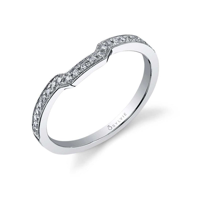 Curved Diamond Wedding Band With Milgrain Accents BSY442 - Chalmers Jewelers
