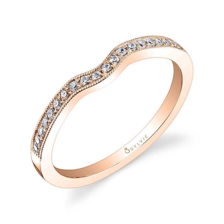 Curved Diamond Wedding Band With Milgrain Accents BSY453 - Chalmers Jewelers