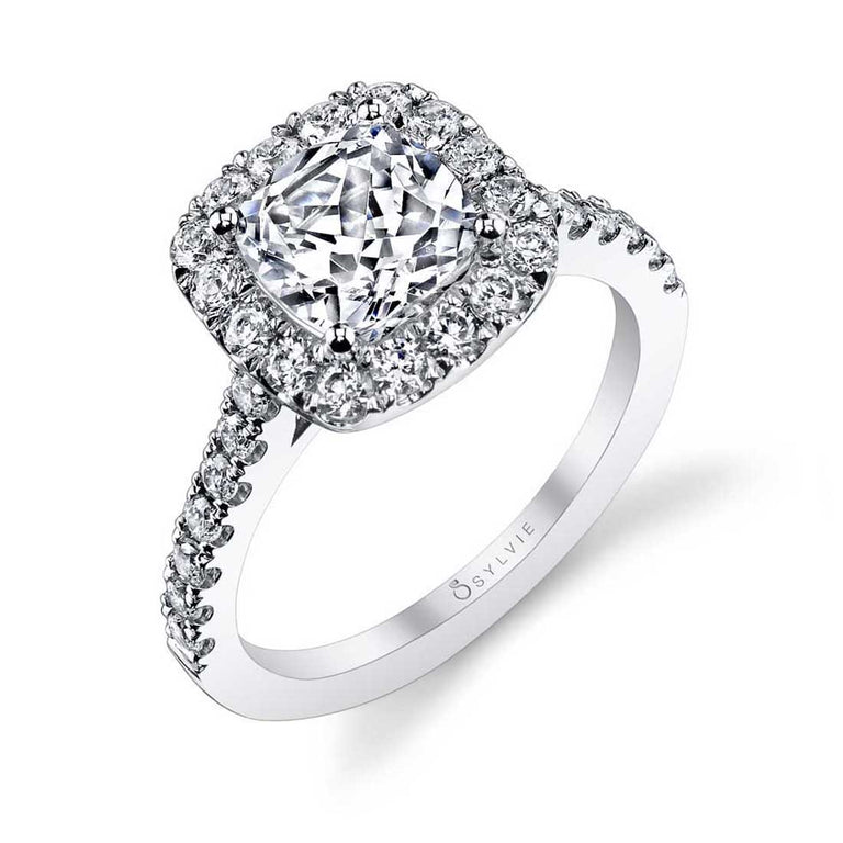 Cushion Cut Engagement Ring With Halo S1199-CU - Chalmers Jewelers