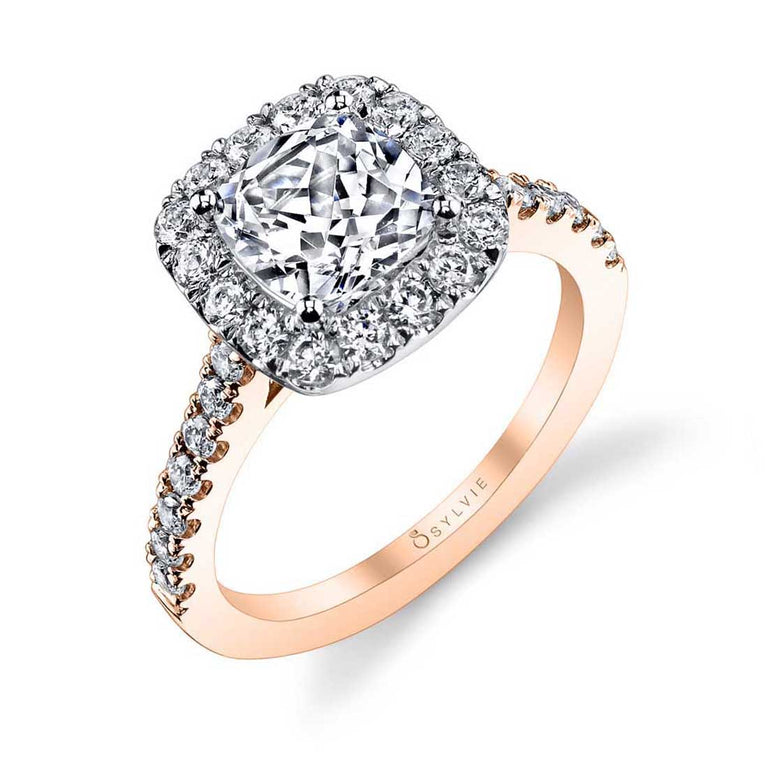 Cushion Cut Engagement Ring With Halo Rose Gold S1199-CU TT - Chalmers Jewelers