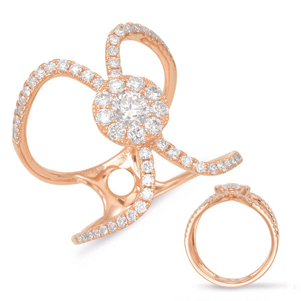 14kt Rose Gold Diamond Fashion Ring - Side View