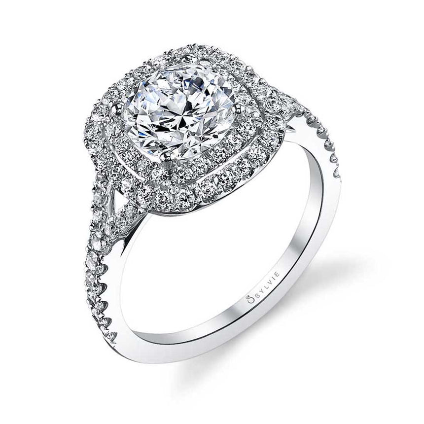 Classic Double Cushion Halo Engagement Ring S1128 - Chalmers Jewelers