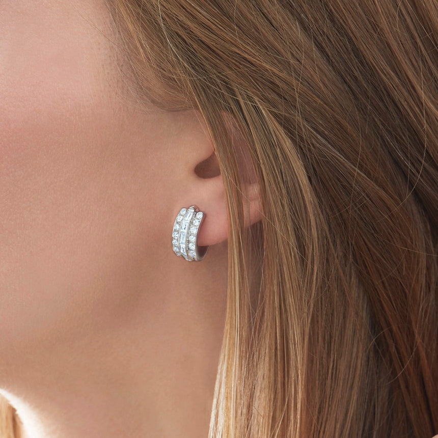 Cascade Linear Huggie Earrings with Diamonds