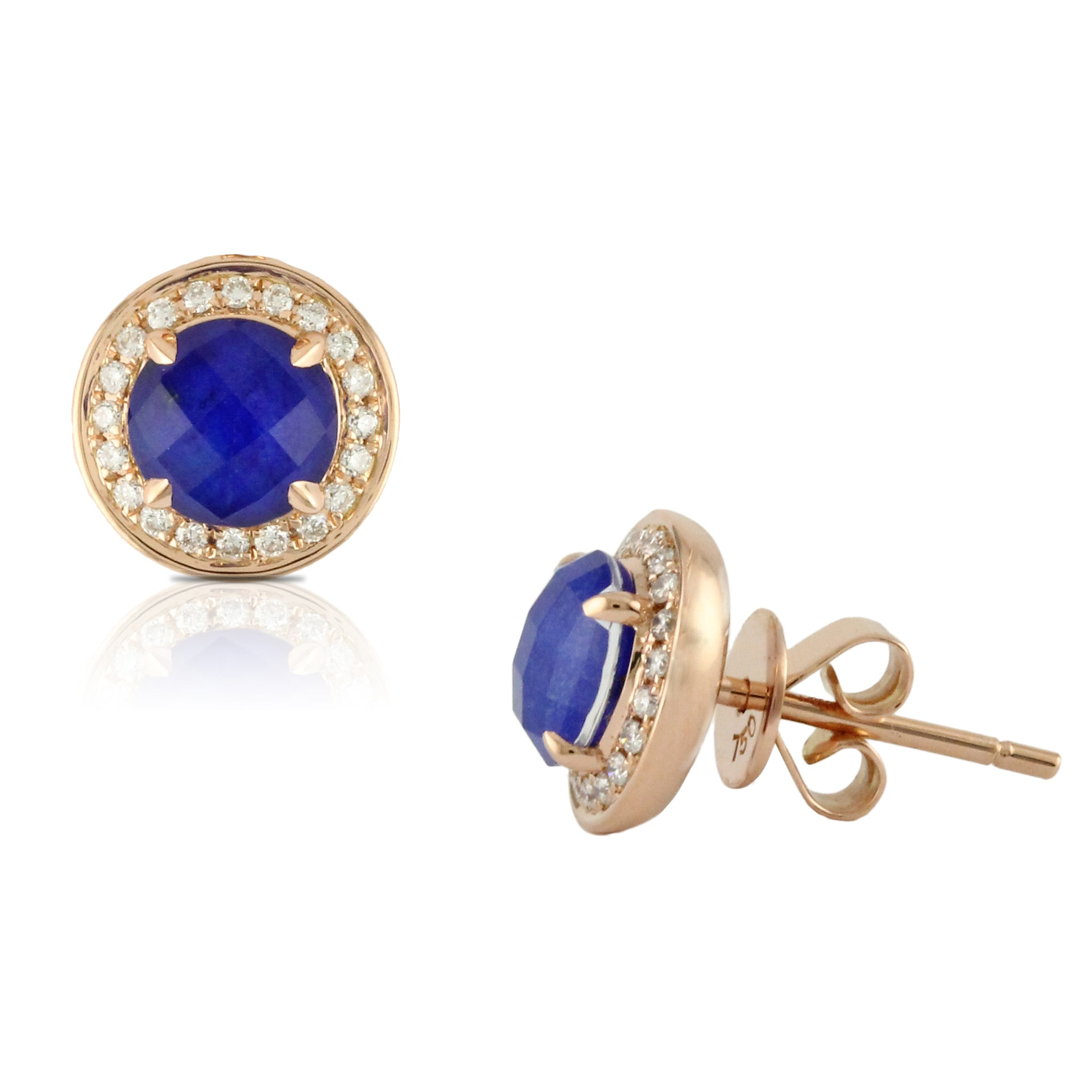 gold lapis lazuli savanne auree stud and earrings jewellery vermeil