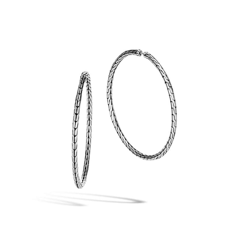 Classic Chain Silver Large Hoop Earrings - Chalmers Jewelers