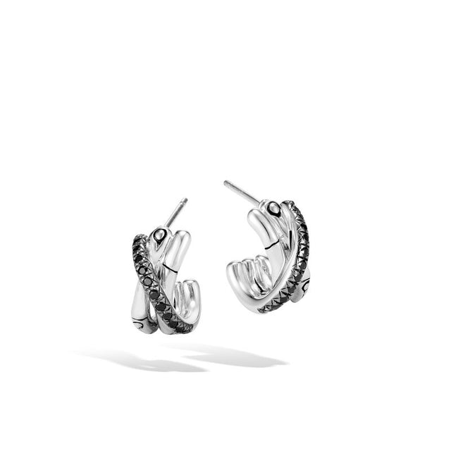 J Hoop Earring with Black Sapphire and Spinel - Chalmers Jewelers
