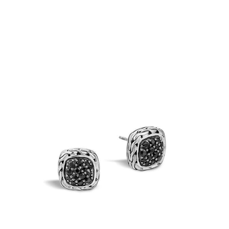 Classic Chain Stud Earring with Black Sapphire - Chalmers Jewelers