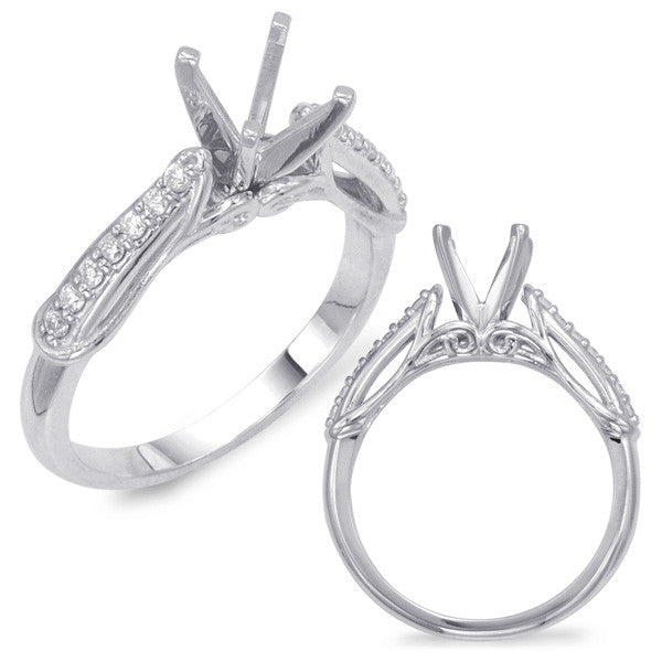 14kt White Gold Semi-twisted Engagement Ring - side view
