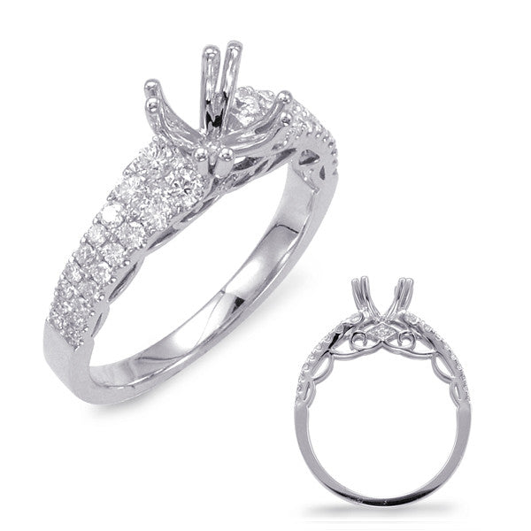 14kt White Gold Double Prong Engagement Ring - Side view