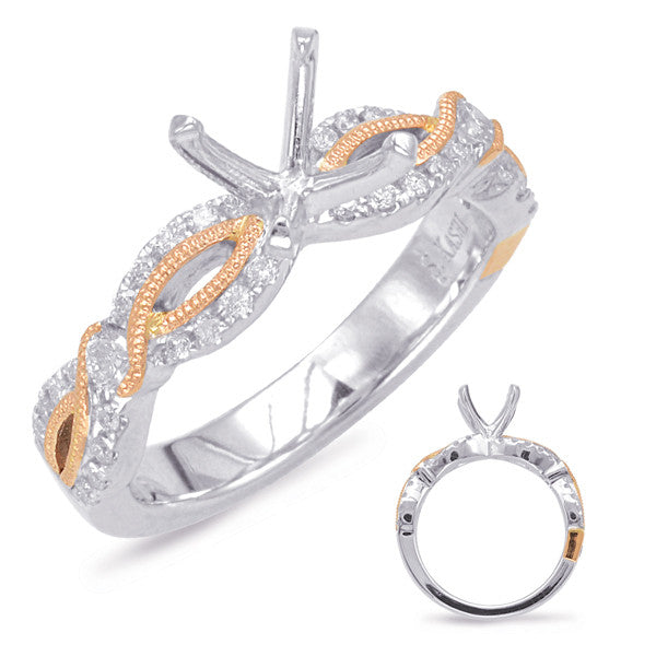White & Rose Gold Engagement Ring Mounting