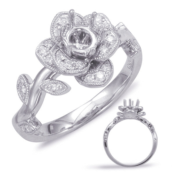 White Gold Flower Engagement Ring Mounting - Chalmers Jewelers