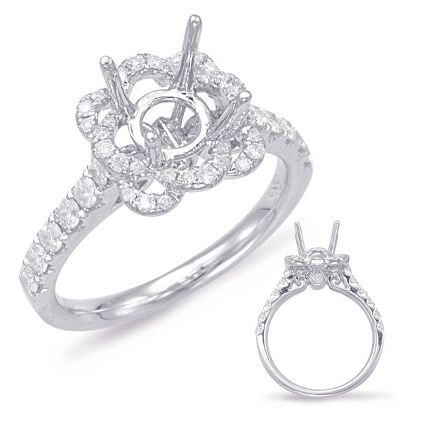 14kt White Gold Halo Flower Ring