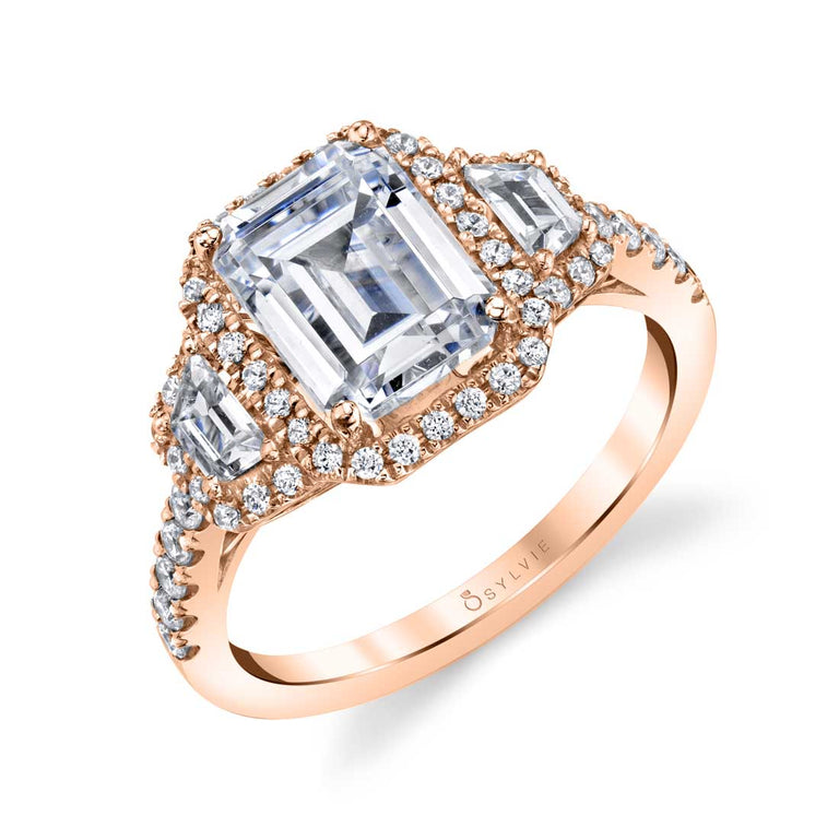 Emerald Cut Three Stone Engagement Ring SY475 - Chalmers Jewelers