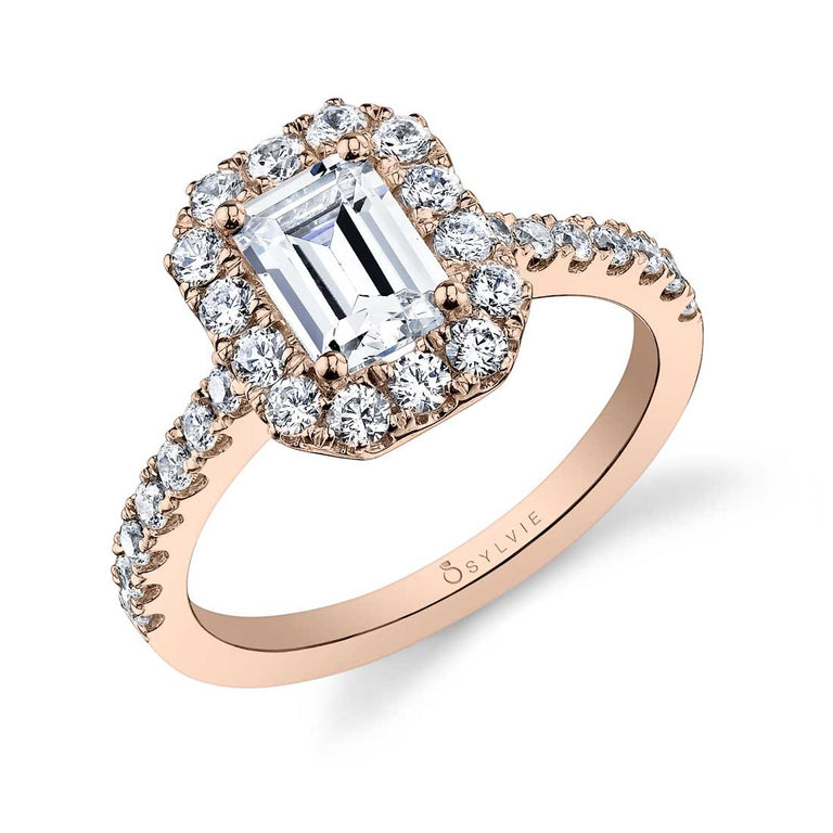 Emerald Cut Engagement Ring With Halo S1199-EM - Chalmers Jewelers