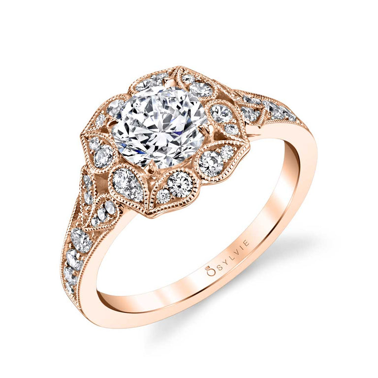 Flower Engagement Ring With Halo S1399 - Chalmers Jewelers