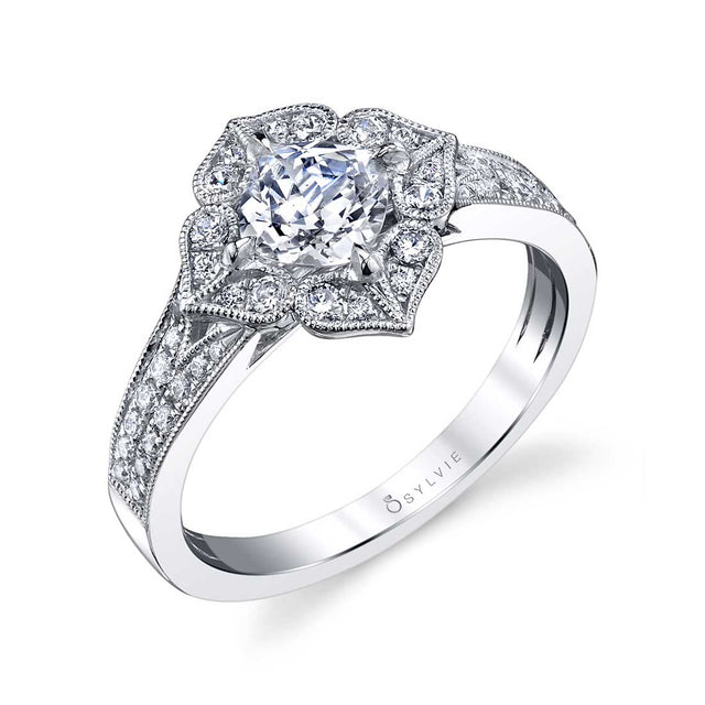 Flower Inspired Cushion Cut Halo Engagement Ring S1348 - Chalmers Jewelers
