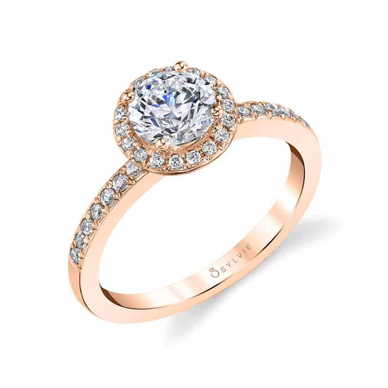 Petite Halo Engagement Ring SY691 - Chalmers Jewelers