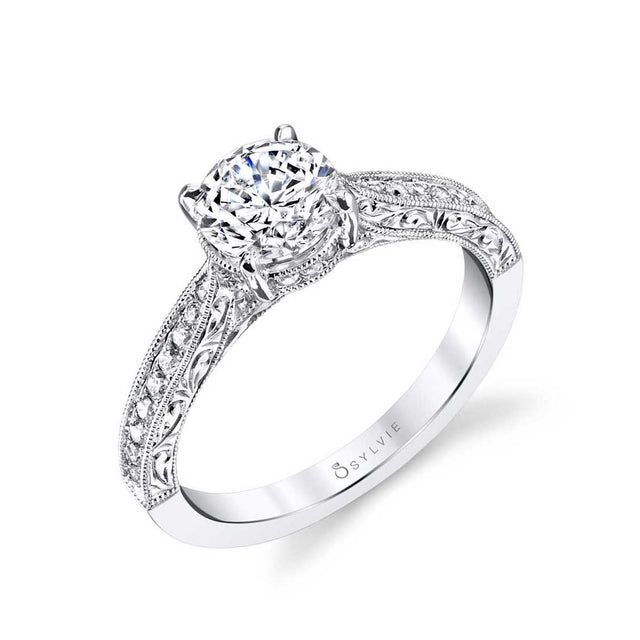 Hand Engraved Solitaire Engagement Ring S1363 - Chalmers Jewelers