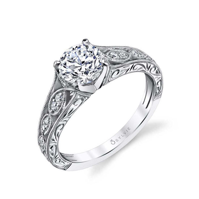 Hand Engraved Vintage Inspired Engagement Ring S1414 - Chalmers Jewelers
