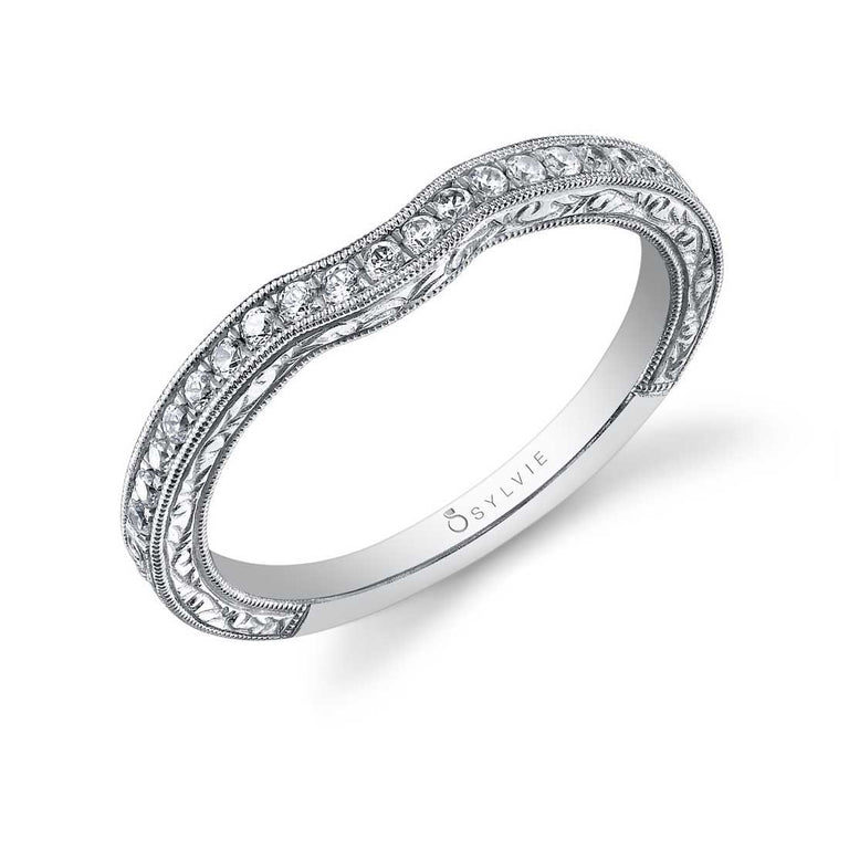 Hand Engraved Milgrain Edge Diamond Wedding Band BSY886 - Chalmers Jewelers