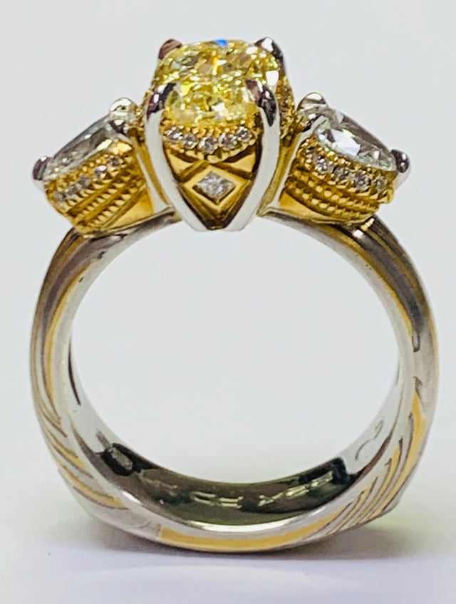 Custom Mokume Fancy Yellow Diamond Ring