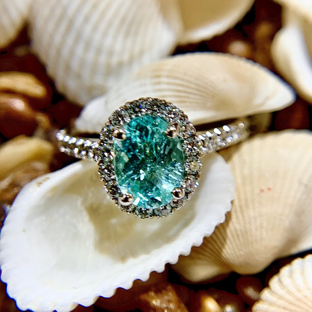 18k Paraiba Tourmaline and Diamond Ring
