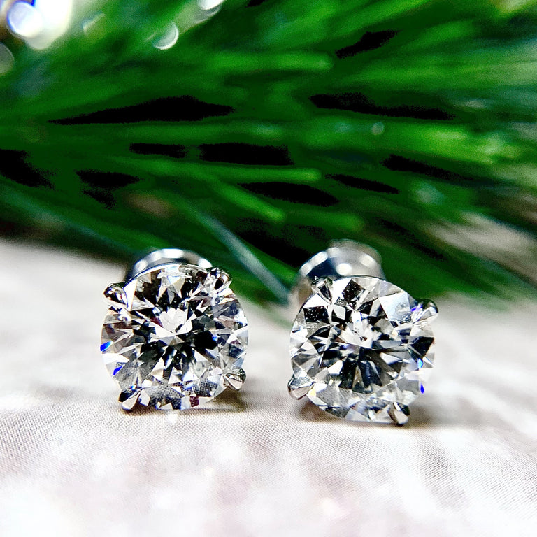 Platinum 3.00 Carat Diamond Stud Earrings